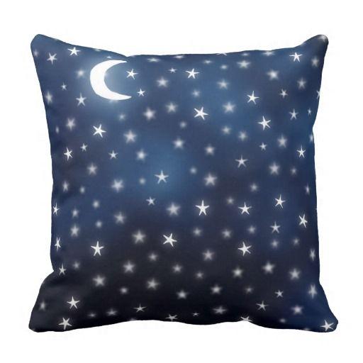 Stars Moon Blue Night Sky Dream White Navy Throw Pillow Zazzle Com Navy Throw Pillows Throw Pillows Pillows