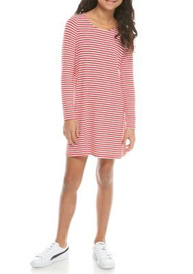 3ee002b08625 J. Khaki® Long Sleeve Candycane Stripe Jersey Swing Dress Girls 7-16 ...