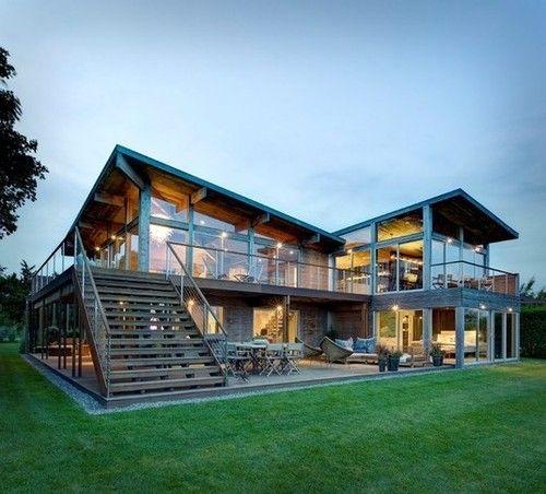 Maison En Bois Magnifique Avec Grandes Baies Vitrées