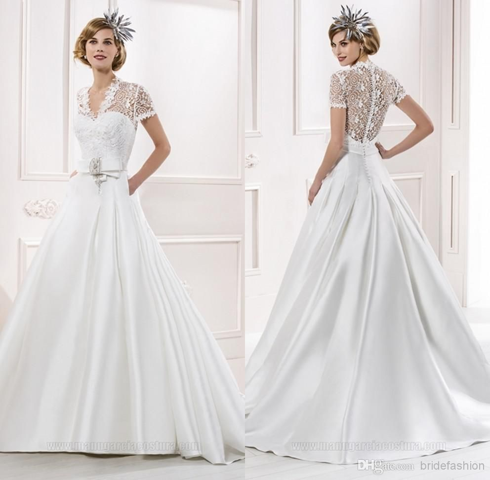 Wholesale jewelry buy vintage a line wedding dresses v
