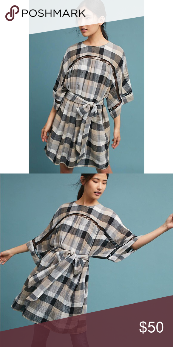 8da3c03d18e7 Anthropologie Maeve Tie Waist Kimono Tunic Sold out! Plaid, cut out  details. Tie waist. Kimono sleeves. Tunic style that can be worn as a mini  dress or ...