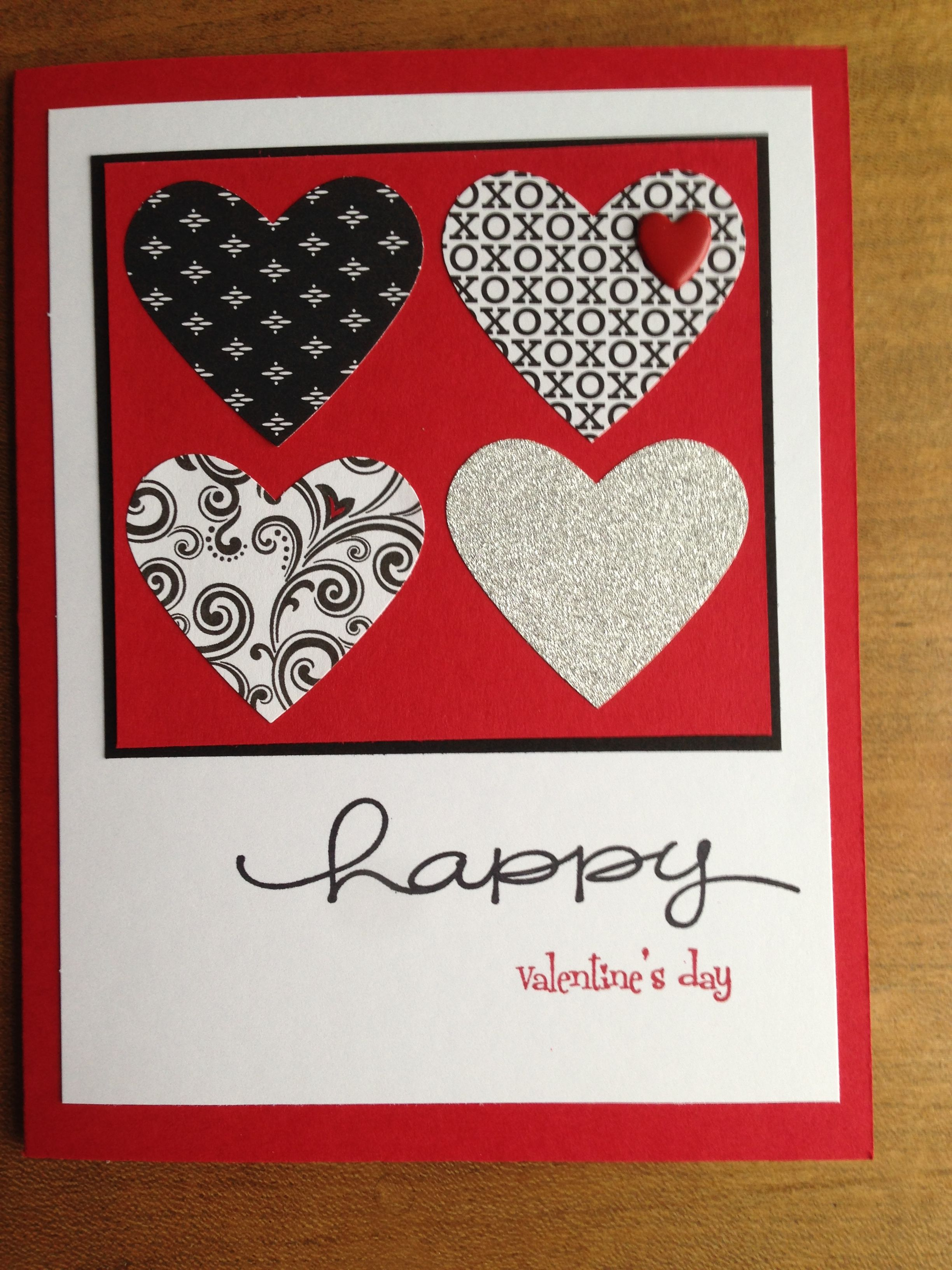 Completed Card Measures 5x7 Used Stampin Up Real Red And Whisper White Cardstock Black Paper Is Valentine Cards To Make Valentines Cards Valentines Scrapbook