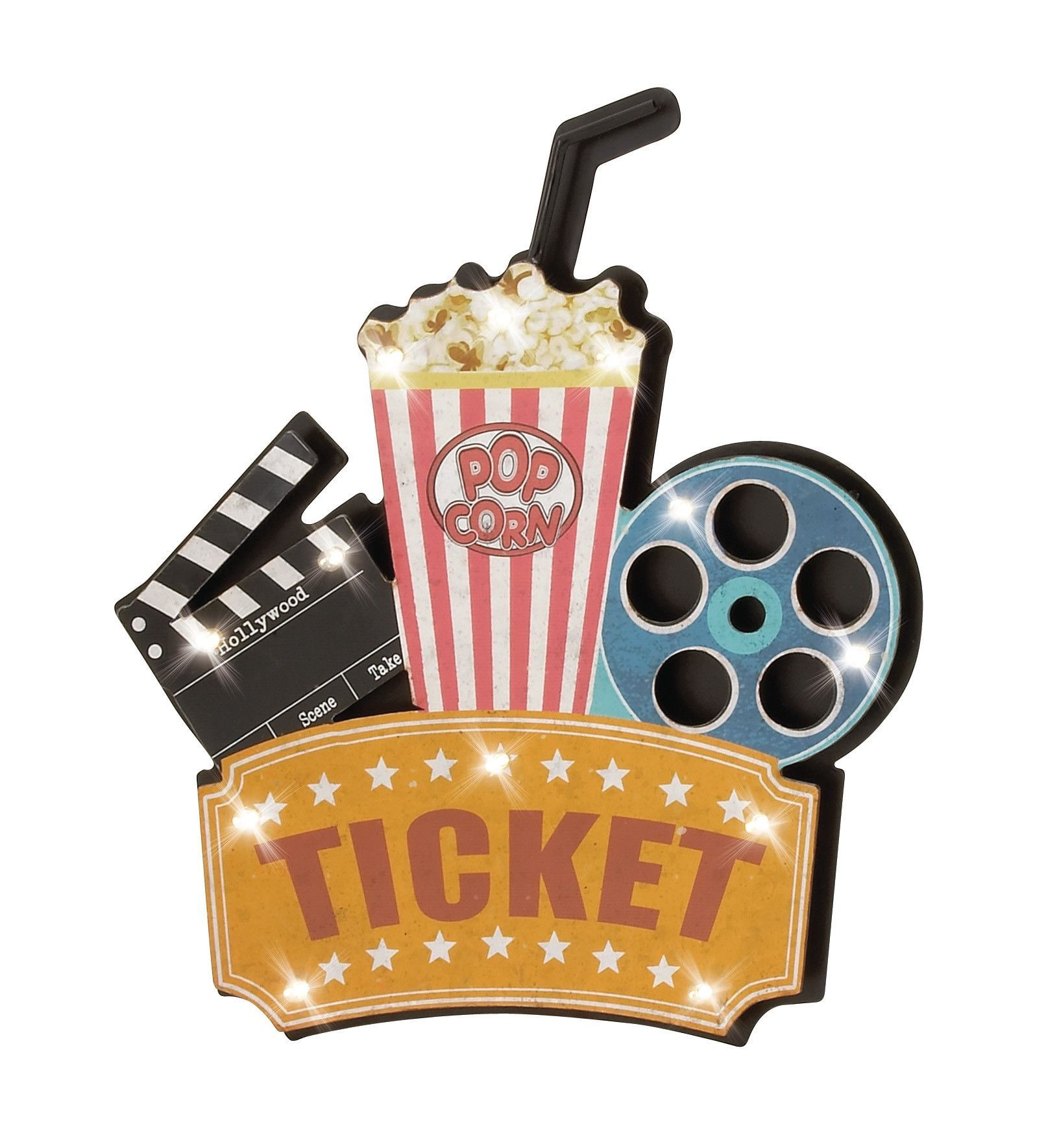 Light Up Theater: Ticket Movie Reel Clapperboard LED Light Wall Decor