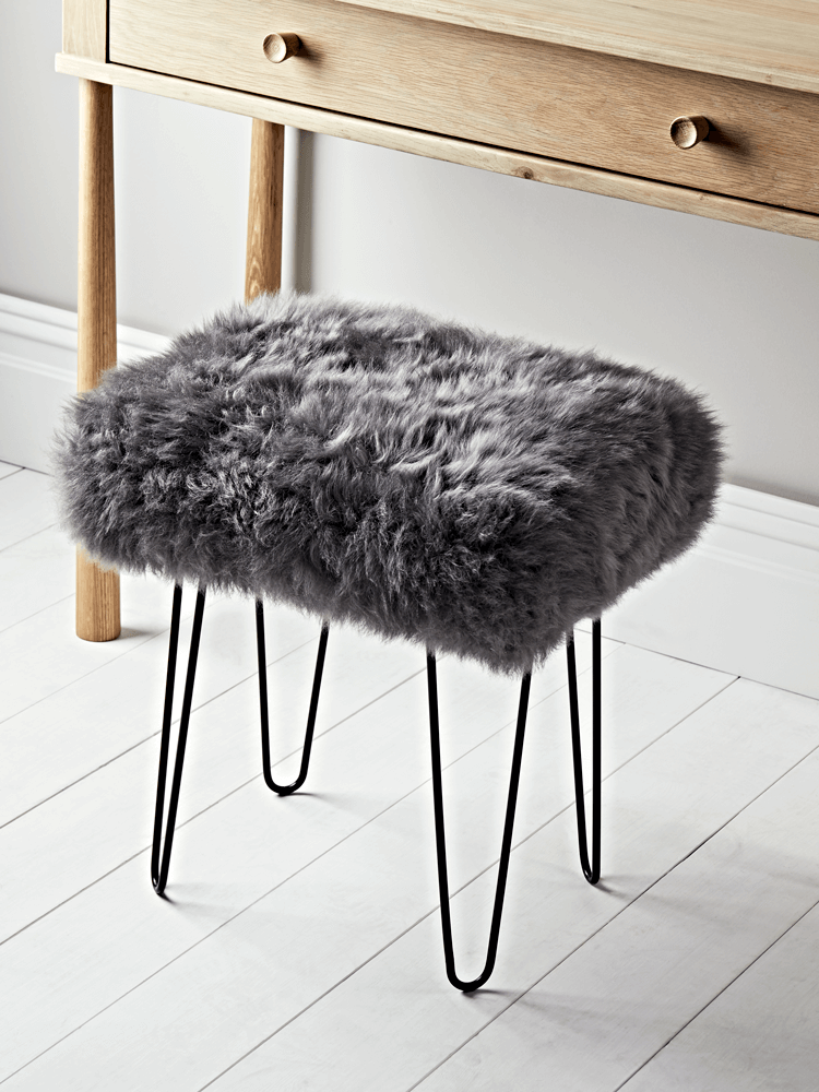 New Sheepskin And Iron Dressing Table Stool Slate Grey Dressing Table With Stool Vintage Bedroom Furniture Luxury Bedroom Furniture