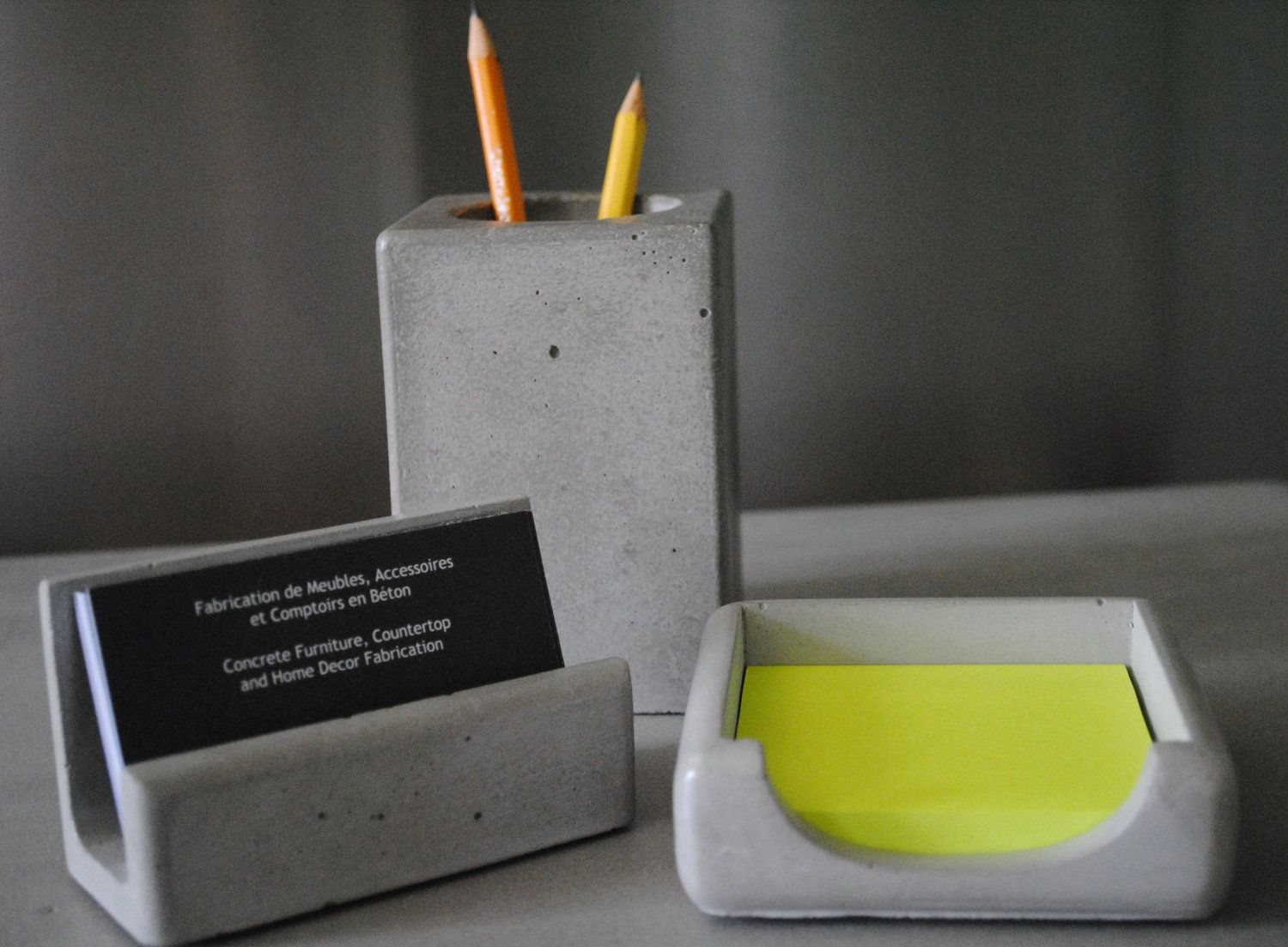 Concrete Desk Accessories / Business Card Holder / Pencil