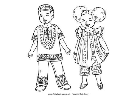 African Children Colouring Page Africa Map Coloring Pages