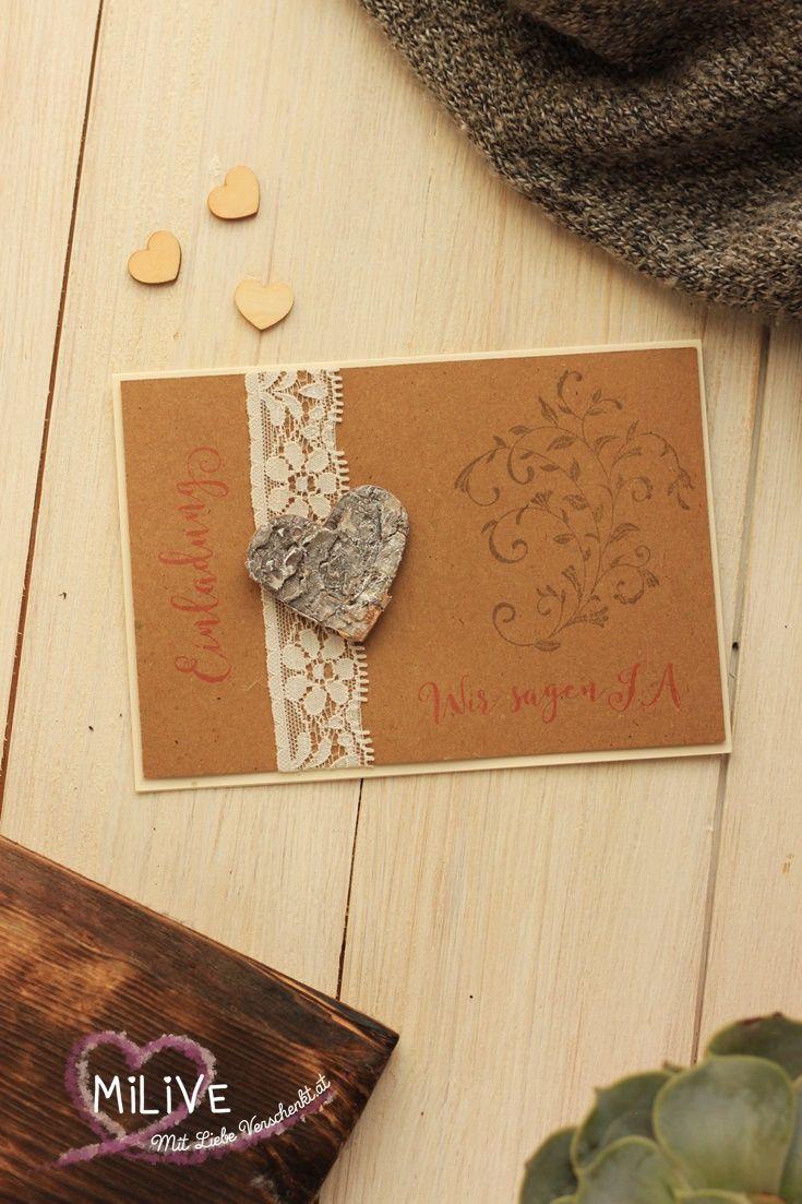 Hochzeitseinladung Für Deine Scheunenhochzeit, Im Rustikalen Stil Mit Holz  Herz Auf Kraft Papier. DIY
