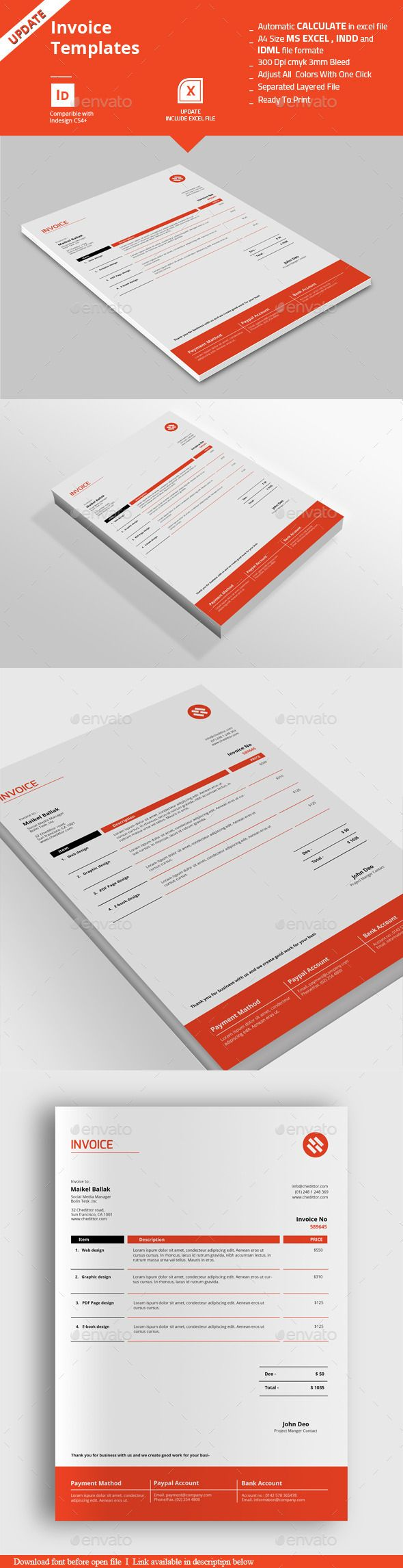 Invoice Templates | Template, Proposal templates and Annual report ...