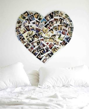 Heart shaped photo wall of him and her together. Wouldn't do over the bed but would be cute somewhere!