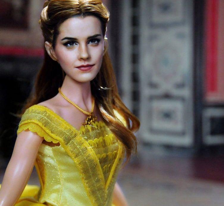 Somebody Fixed The Emma Watson Belle Doll So It Doesn T Look Like Justin Bieber Emma Watson Belle Doll Emma Watson Belle Beauty And The Beast
