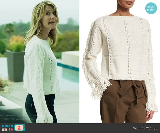 Renata's white fringed sweater on Big Little Lies. Outfit Details ...