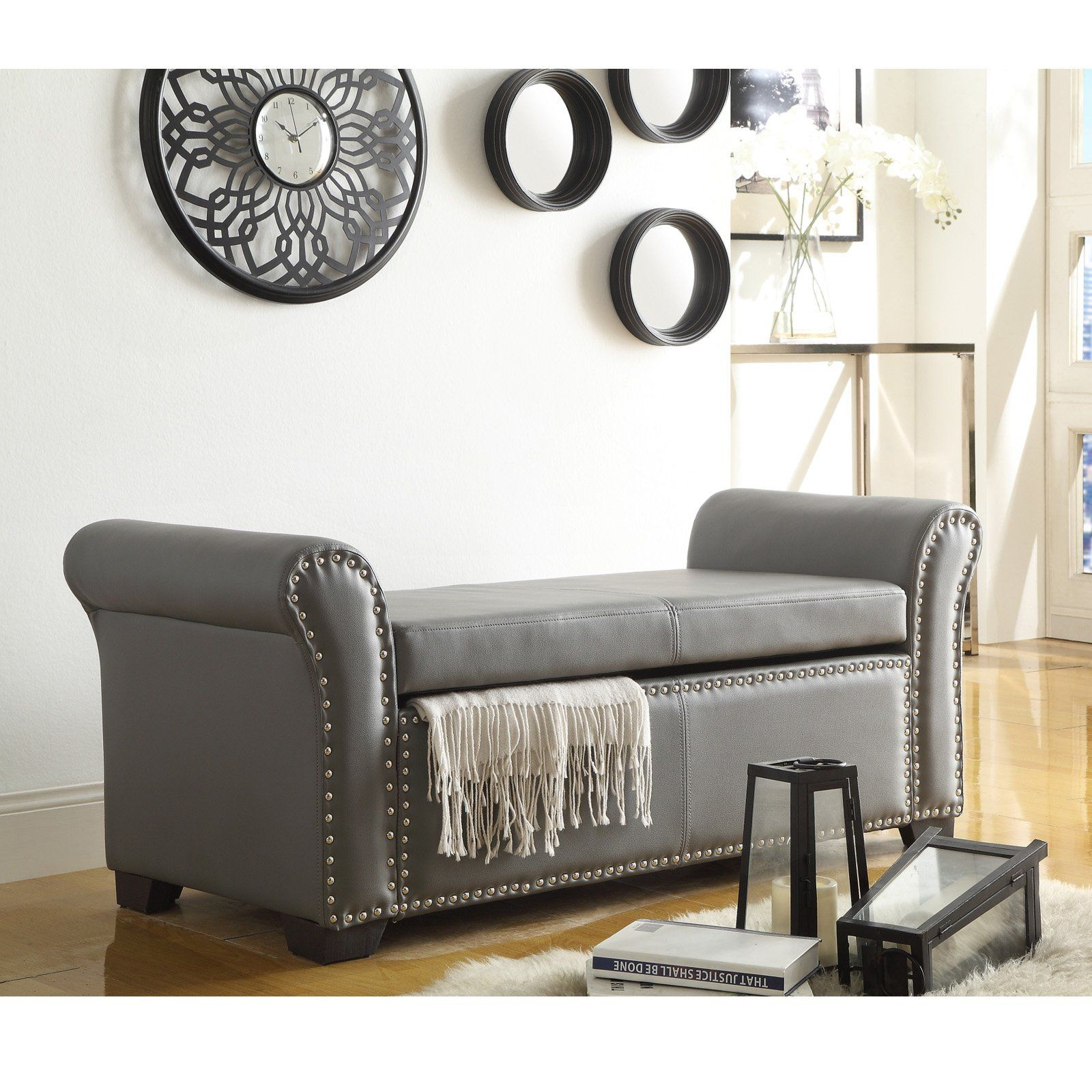 Inspired Home Payton Faux Leather Indoor Storage Bench Gray Storage Ottoman Bench Leather Storage Bench Indoor