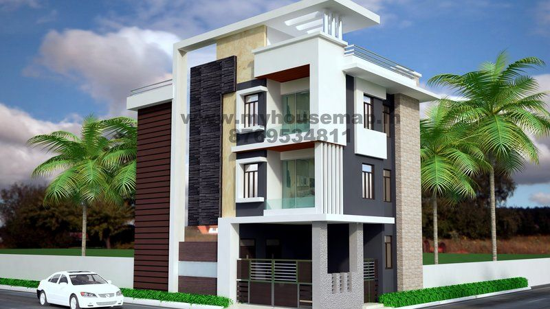 Front elevation india house map elevation exterior for Ground floor 3d elevation