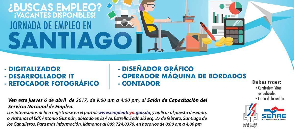 El Ministerio de Trabajo, a través del Servicio Nacional de Empleo, invita a los interesados, a participar en la Jornada de Empleo en Santiago.
