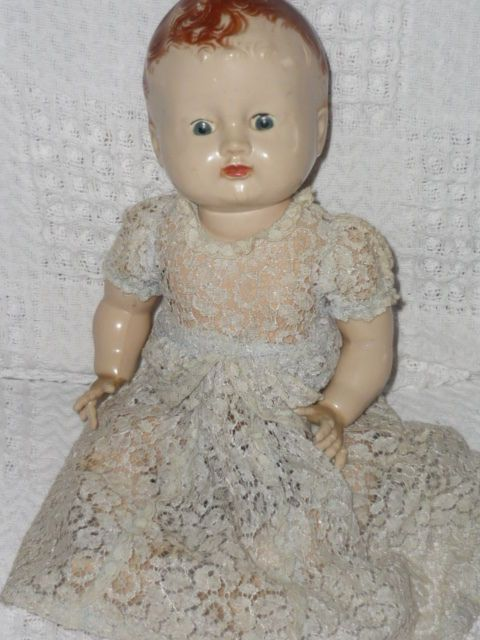 ANTIQUE PEDIGREE 13  (34cm) COMPOSITE  MAMA  BABY DOLL (from England)