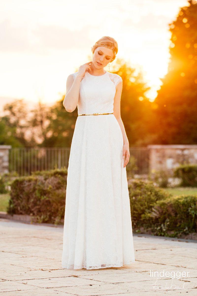 Vintage Brautkleid Chia mit unserem goldenen Metallic-Brautgürtel ...