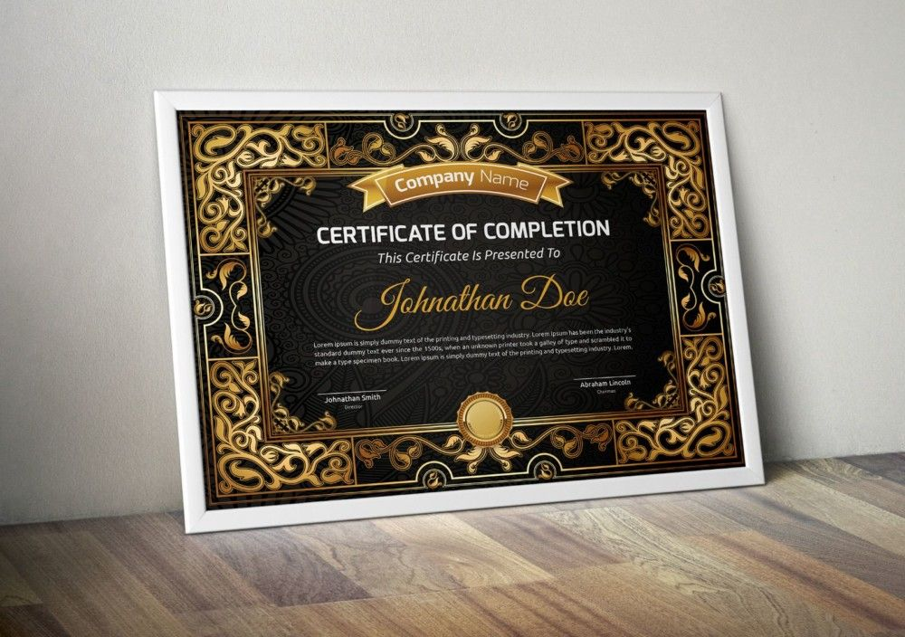 Vintage Certificate Of Completion Template  Certificate Of