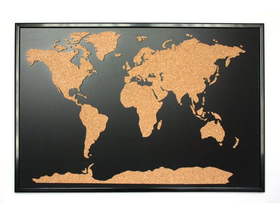 World map push pin corkboard with frame playroom pinterest world map push pin corkboard with frame gumiabroncs Choice Image