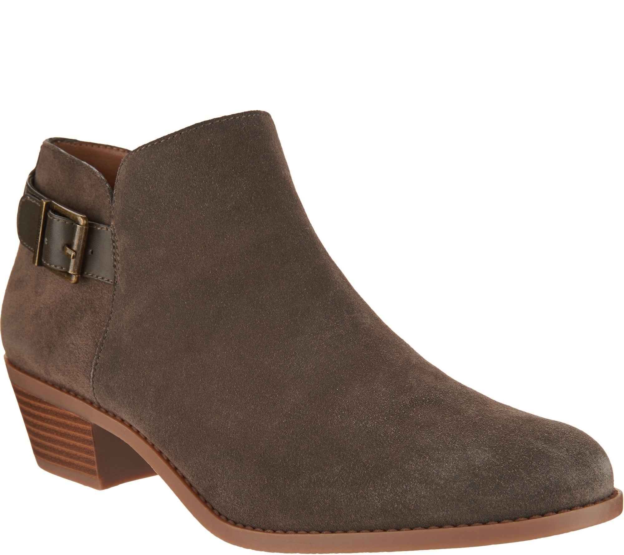 Boots, Stacked heel ankle boots, Suede