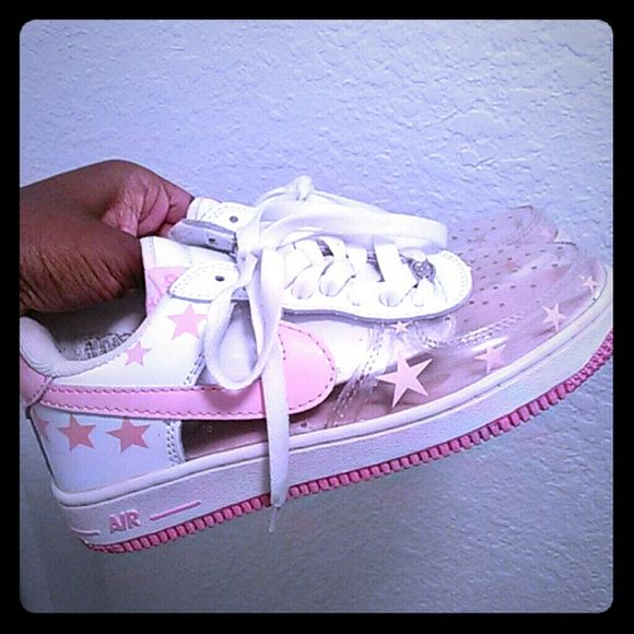 ff642bdb4e4 Nike Air force 1 Pink white and clear Nike Shoes