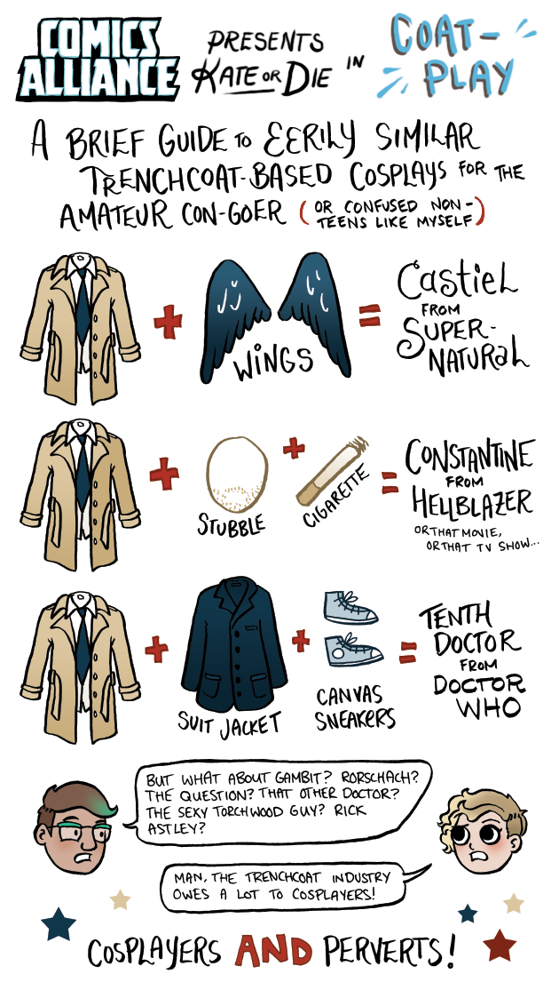 ComicsAlliance presents Kate Or Die in Coat Play, a guide to trenchcoat cosplay by Kate Leth
