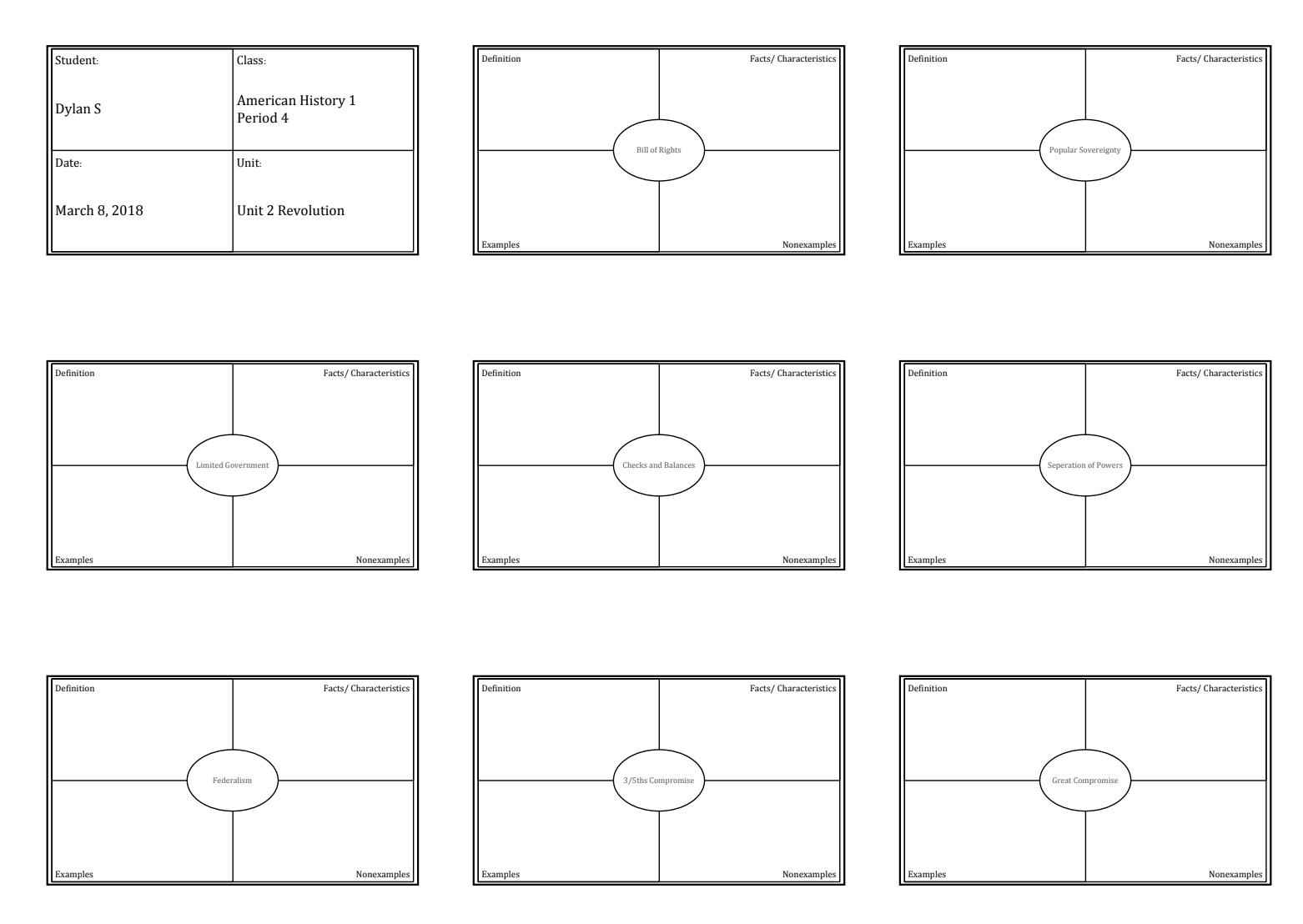 Frayer Model Vocabulary Boxes Template