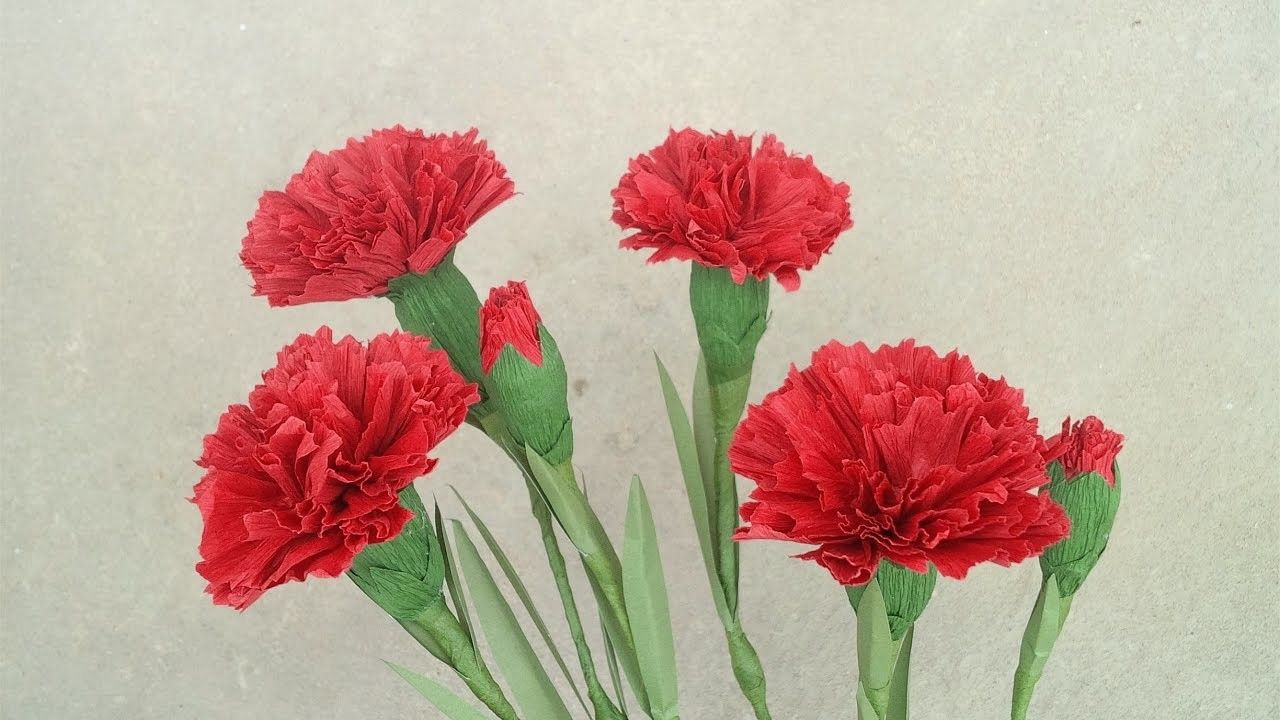 How To Make Red Carnation Paper Flower From Crepe Paper Craft