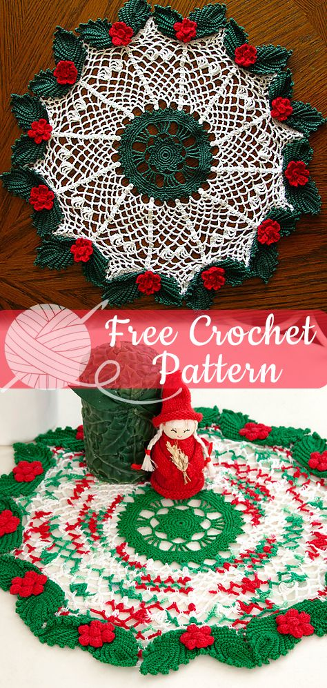 Holly Lace Doily Crochet Free Patterns Doily Christmas