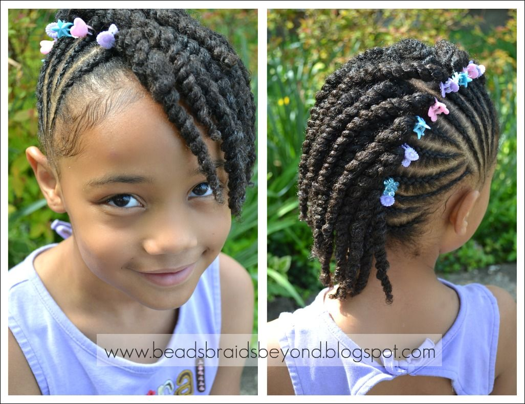 Beads Braids And Beyond Side Cornrows With Two Strand Twists Natural Hair Styles Kids Hairstyles Lil Girl Hairstyles