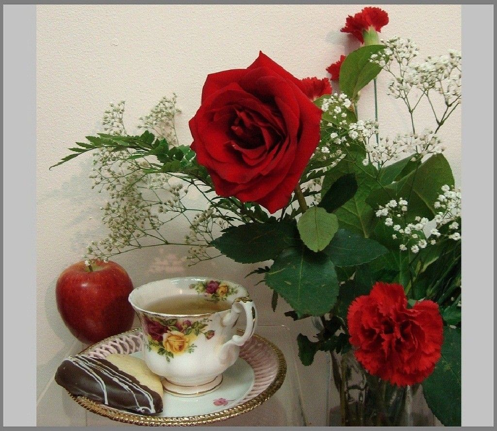 Life Apple Roses Time Tea Red Rose Flowers Flower