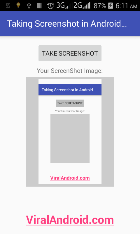 Android Example: Taking Screenshot Programmatically in