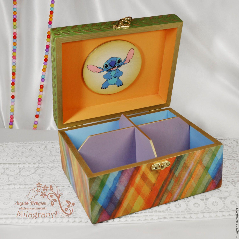 Купить Шкатулка детская Лило и Стич Шкатулка декупаж шкатулка для девочки - шкатулка, шкатулка для украшений