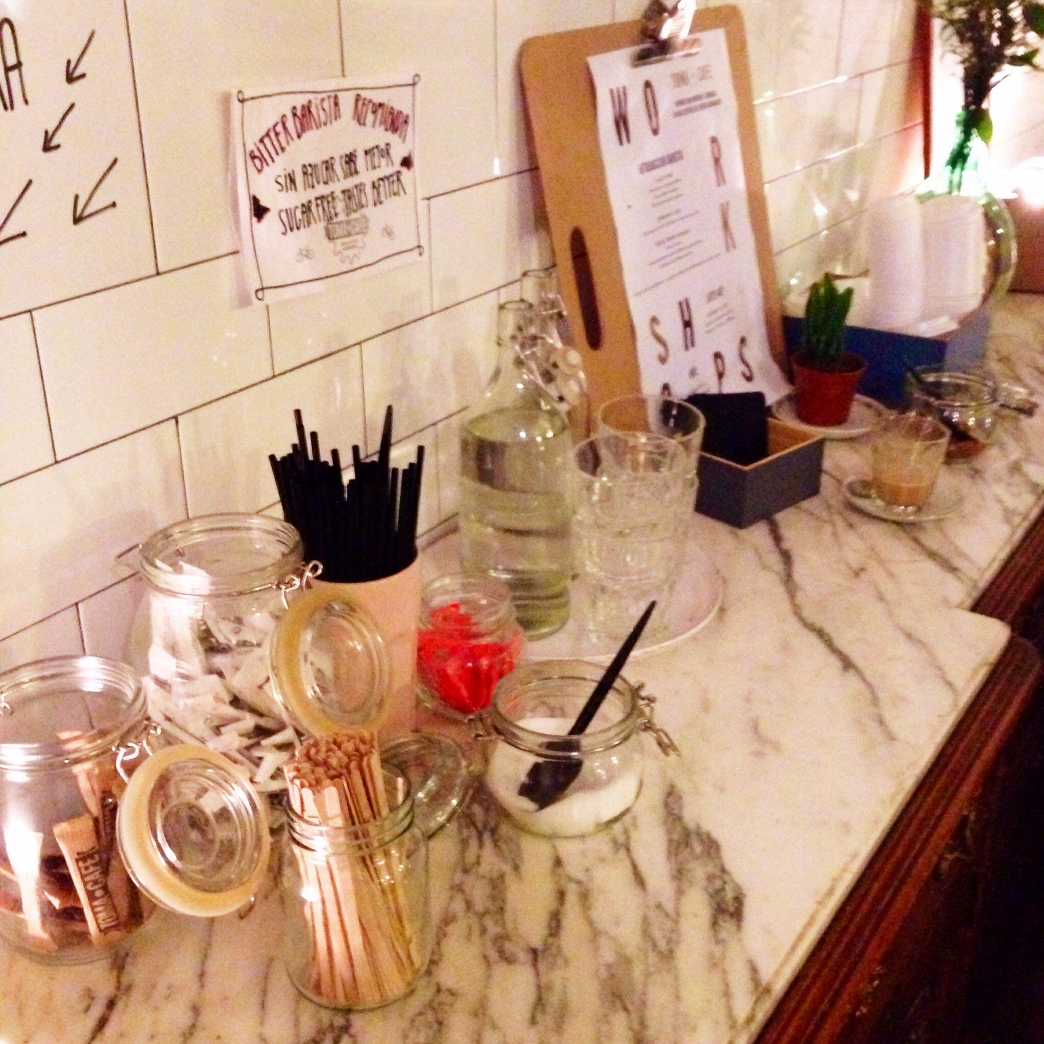 Self-service table in Toma Café, Madrid | Coffee shop design ideas ...