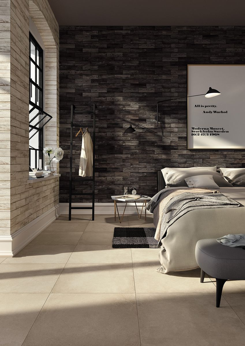 Hmade Stylish Interior Design Of Porcelain Tiles By Mirage Makeityourhome Brick Wall Bedroom Minimalist Bedroom Design Minimalist Bedroom Decor