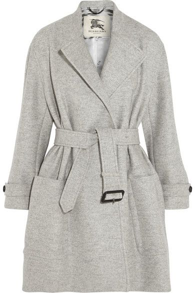 eadccf0131acc BURBERRY LONDON Belted Wool Coat - Burberry London s light-gray coverup is  a chic hybrid of its signature trench and a classic coat.