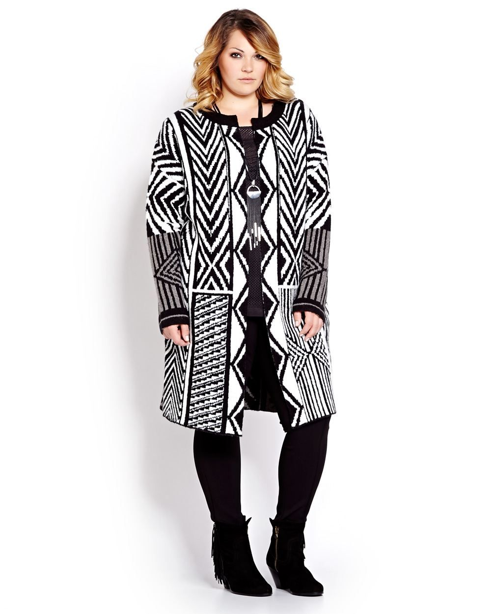 Chic duster cardigan by Michel Studio with bold geo pattern brings ...