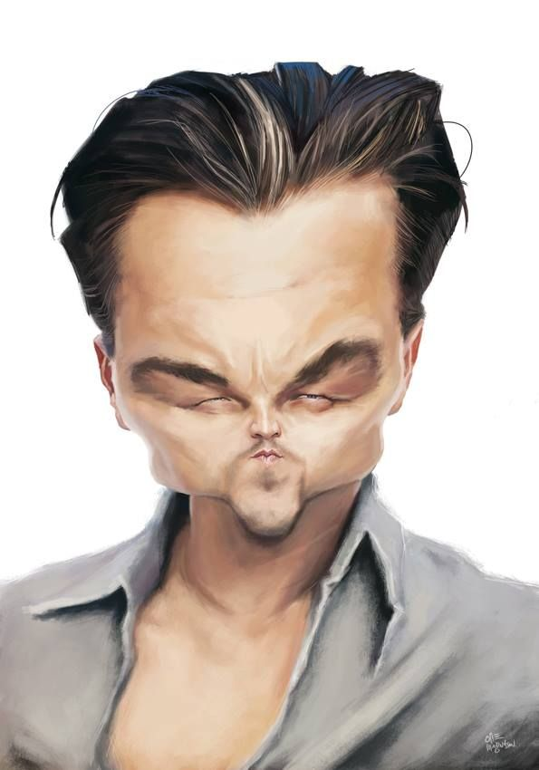 Leonardo Wilhelm DiCaprio - Caricature (born November 11, 1974) is an American actor/film producer. Stared in Titanic (1997), earning him his first Drama Golden Globe Award. Titanic also became the highest grossing film to that point. (Dunway Enterprises) http://dunway.com - http://masterpaintingnow.com/how-to-draw-everything?hop=dunway