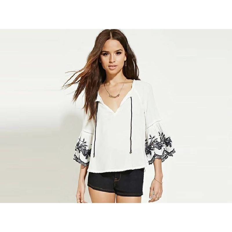 Miami Flower Embroidery Blouse