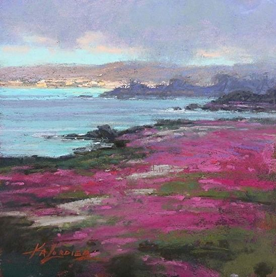 Seaside from Pacific Grove by Kim Lordier Pastel ~ 8 x 8