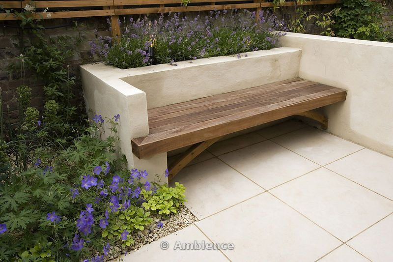 Ambience Images Modern Wooden Bench Set Into Limewashed 400 x 300