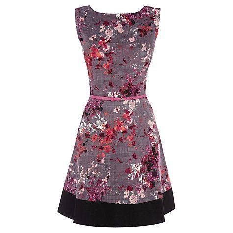 Oasis Painterly Floral Skater Dress, Multi