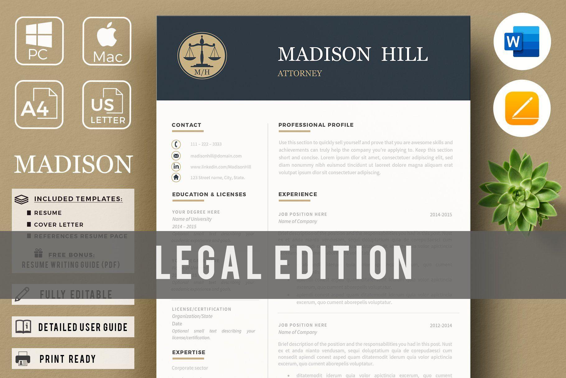 Attorney resume template lawyer cv en 2020 botones