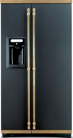 Black Refrigerator With Gold Handles Google Search