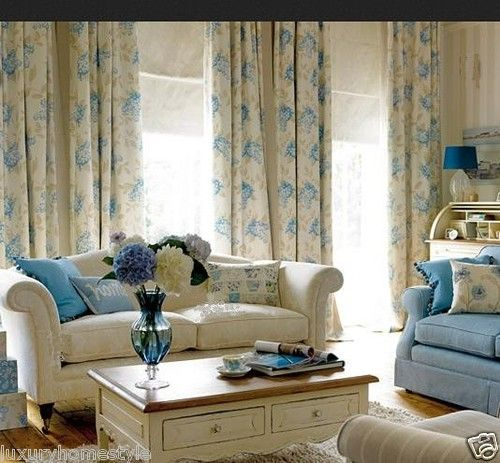 Laura Ashley Curtains Portland Floral Blue White French