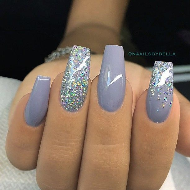 REPOST - - • - - Grey Square Nails with iridescent Glitter ...
