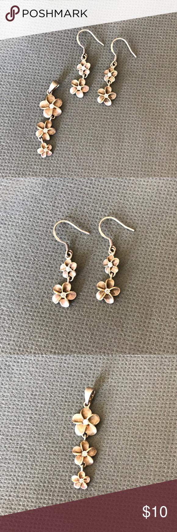 Plumeria pendant u earring set pendant earrings chains and pendants