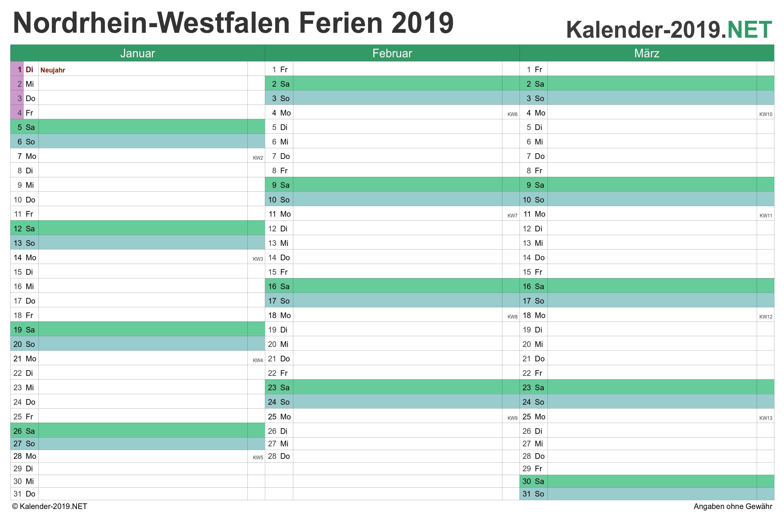 Nrw Quartalskalender 2019 Mit Ferien Kalender 2018