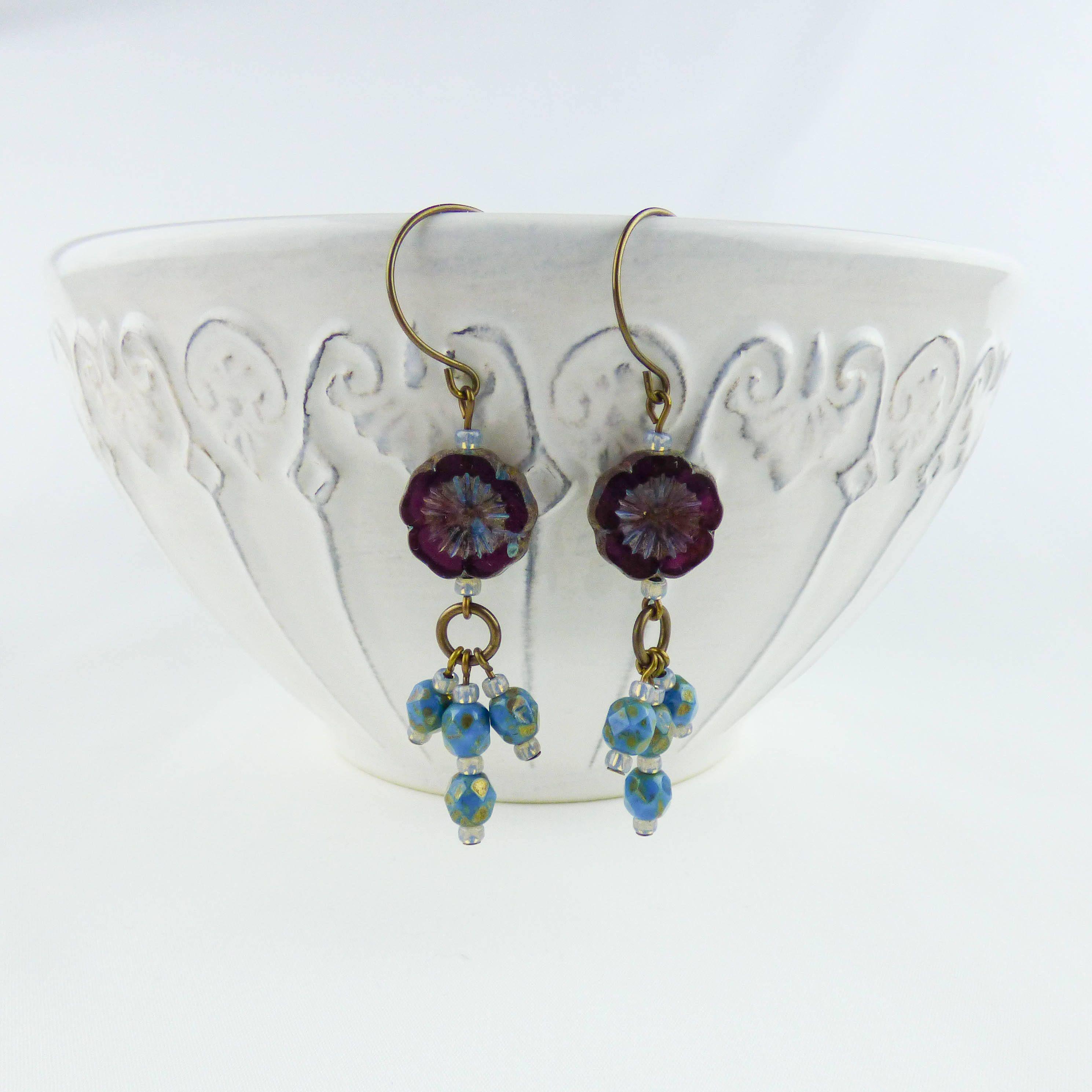 Purple And Turquoise Hawaiian Flower Earrings Drop Earrings Beaded