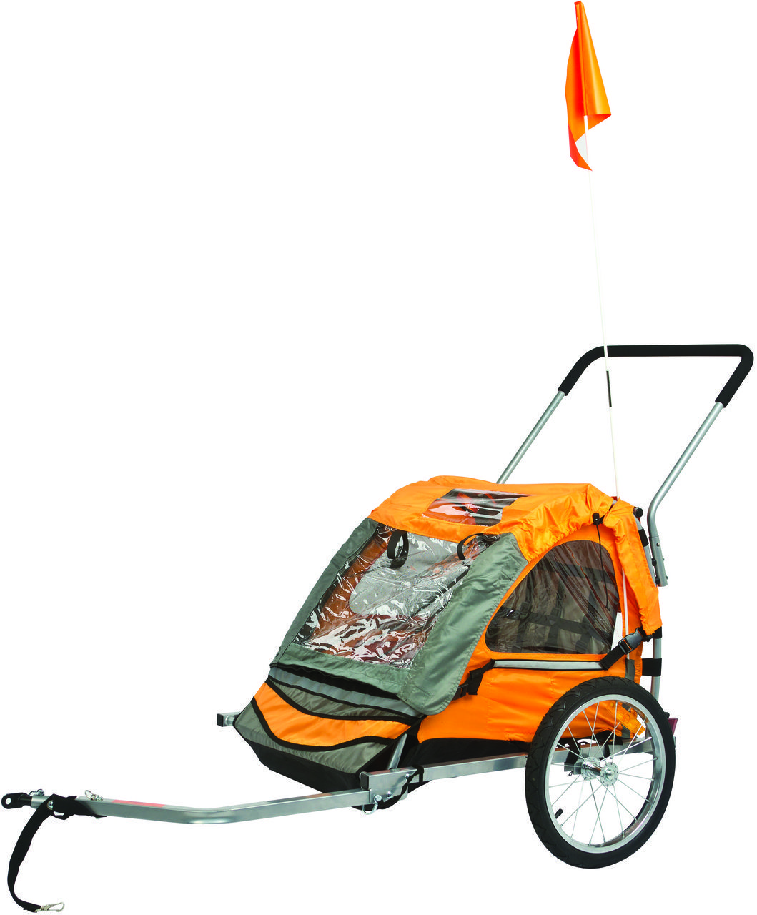 A combination bike trailer and 2 seater stroller for