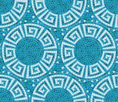 Azul sem costura padrão de mosaico com azulejos geométricos-emblema de vector art illustration